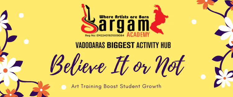 sargam academy logo believe it or not with yellow background and flowers on both side