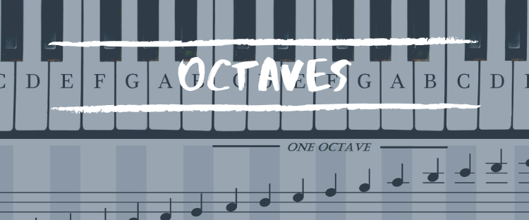 Octaves written with Keyboard Background
