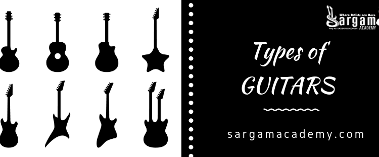 Types of Guitar written on black base